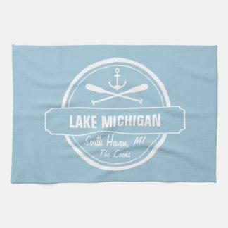 Lake Michigan, custom town, name, anchor, paddles Tea Towel