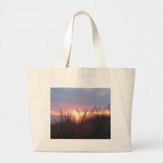 Lake Michigan Fall Sunset Tote Bags
