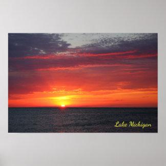 Lake Michigan Fiery Summer Orange July Sunset Poster