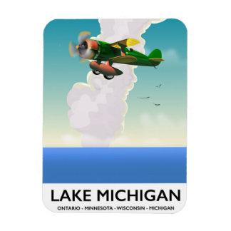 Lake Michigan flight travel poster Magnet