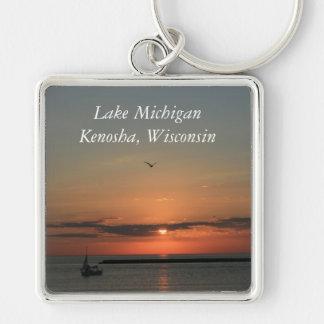 Lake Michigan, Kenosha, Wisconsin Silver-Colored Square Key Ring