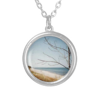 Lake Michigan shore Round Pendant Necklace