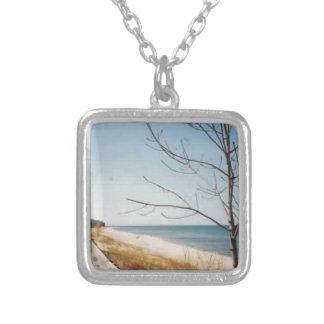 Lake Michigan shore Square Pendant Necklace