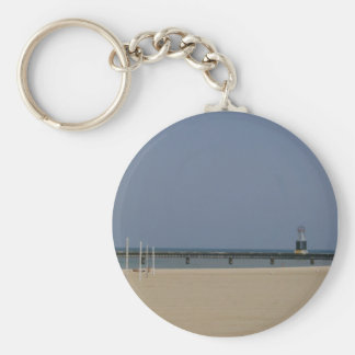 Lake Michigan Shores Beacon Light Basic Round Button Key Ring