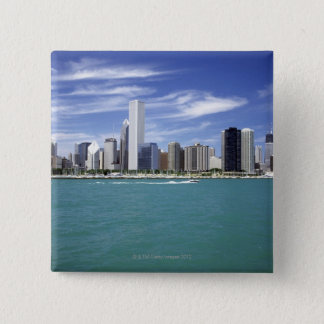 Lake Michigan, Skyline, Travel Destinations, 15 Cm Square Badge