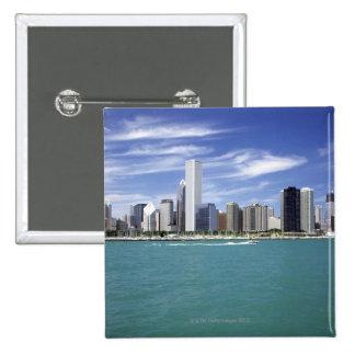 Lake Michigan, Skyline, Travel Destinations, 15 Cm Square Badge