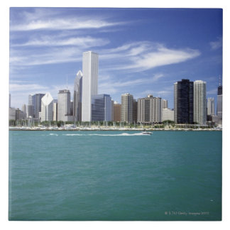 Lake Michigan, Skyline, Travel Destinations, Large Square Tile