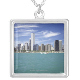 Lake Michigan, Skyline, Travel Destinations, Silver Plated Necklace