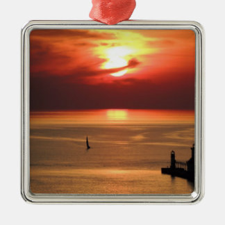 Lake Michigan Sunset Christmas Ornament