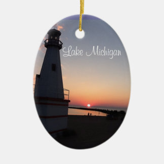 Lake Michigan Sunset Lighthouse Ornament