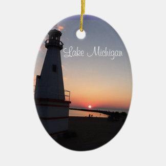Lake Michigan Sunset Lighthouse Ornament