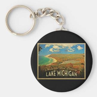 Lake Michigan Vintage Basic Round Button Key Ring