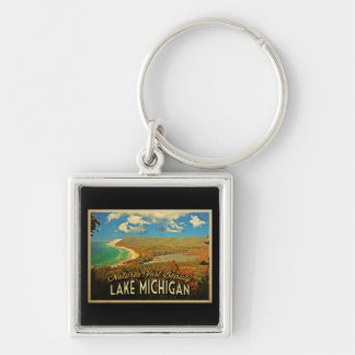 Lake Michigan Vintage Silver-Colored Square Key Ring