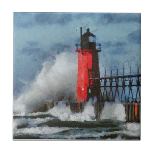 Lake Michigan Waves and Lighthouse Small Square Tile