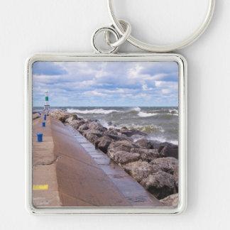 Lake Michigan Waves Silver-Colored Square Key Ring