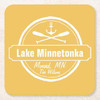 Lake Minnetonka Minnesota anchor town and name Square Paper Coaster
