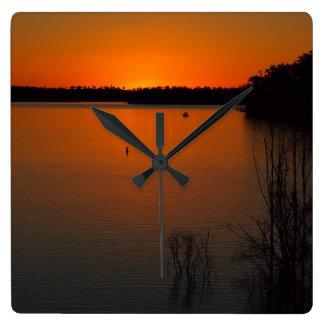 Lake Monduran sunset wall clock