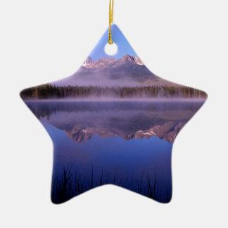 Lake Morning At Little Redfish Idaho Ceramic Star Decoration
