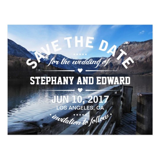 Lake Mountains Stylish Save the Date Postcard