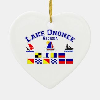 Lake Ononee GA Signal Flags Ceramic Heart Decoration