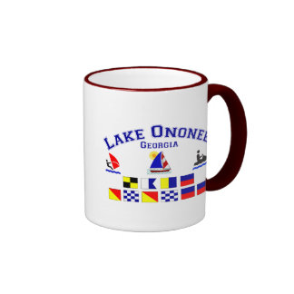 Lake Ononee GA Signal Flags Ringer Mug