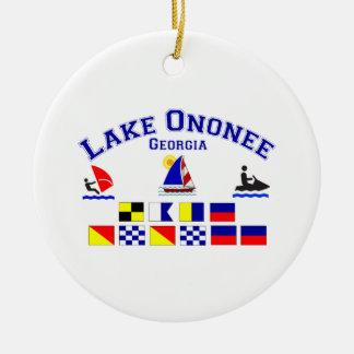 Lake Ononee GA Signal Flags Round Ceramic Decoration