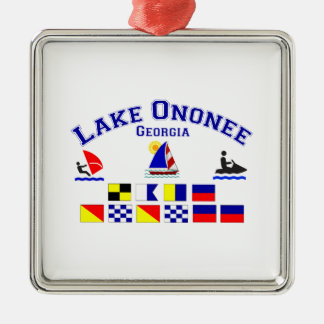 Lake Ononee GA Signal Flags Silver-Colored Square Decoration