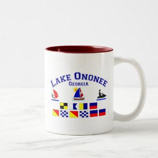 Lake Ononee GA Signal Flags Two-Tone Mug