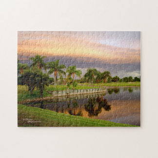 Lake Palm Trees Sunset Florida Puzzle