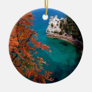 Lake Pictured Rocks Shore Superior Michigan Round Ceramic Decoration
