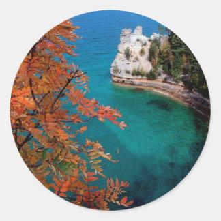 Lake Pictured Rocks Shore Superior Michigan Round Stickers