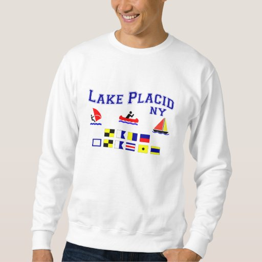 Lake Placid NY Signal Flags Pullover Sweatshirts