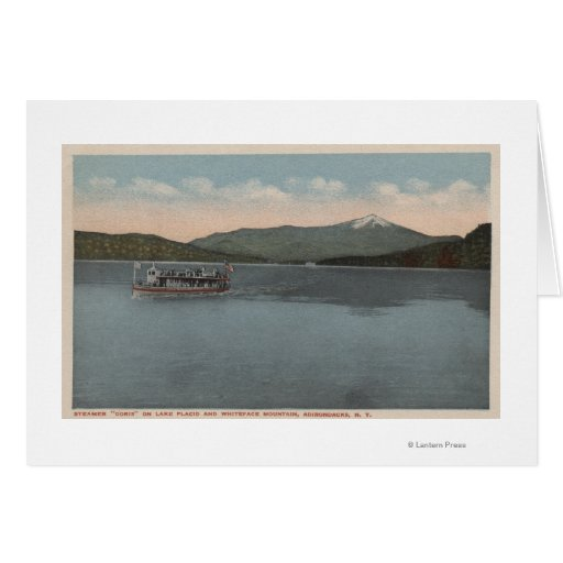 Lake Placid, NY - View of Steamer Doris Greeting Cards
