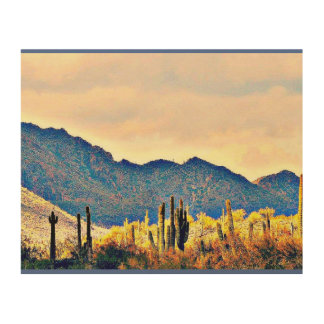 Lake Pleasant Saguaros Landscape Wood Wall Art
