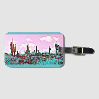 Lake Pleasant Turquoise Saguaros Luggage Tag