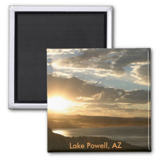 Lake Powell AZ at sunset Square Magnet