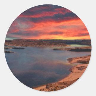 Lake Powell beautiful nature scenery Classic Round Sticker