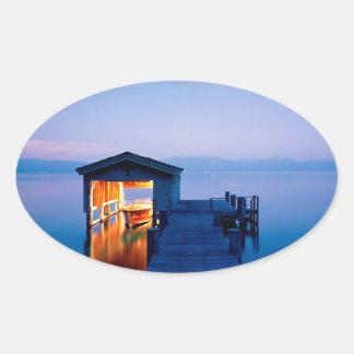 Lake Quiet Getaway Tahoe Nevada Oval Sticker