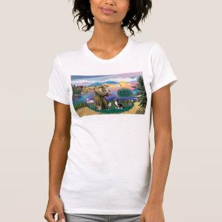 Lake Road - Two Labrador Retrievers (Choc-Blk) T Shirts