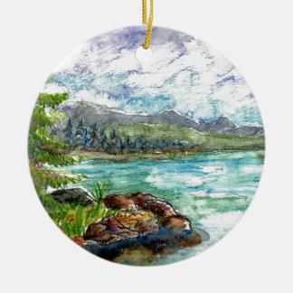 Lake Scene - watercolor pencil Christmas Ornament