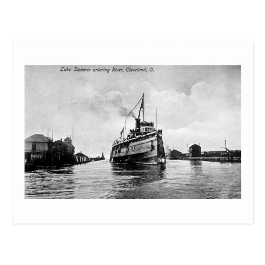 Lake Steamer entering River, Cleveland, Ohio Postcard