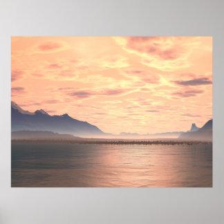 Lake Sunset 2 Generative Art Print
