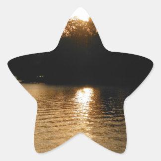 Lake Sunset Sepia Fishing Gifts Fisherman Dad Star Stickers