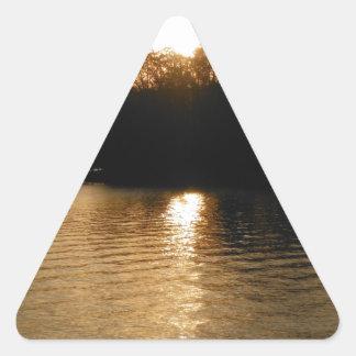 Lake Sunset Sepia Fishing Gifts Fisherman Dad Triangle Stickers