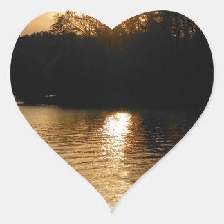 Lake Sunset Sepia Fishing Gifts Fisherman Dad Heart Sticker