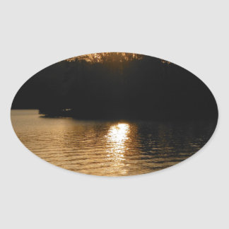 Lake Sunset Sepia Fishing Gifts Fisherman Dad Oval Stickers
