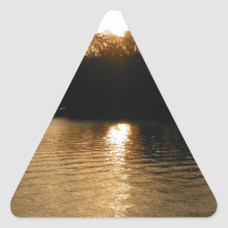 Lake Sunset Sepia Fishing Gifts Fisherman Dad Triangle Sticker