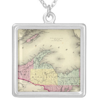 Lake Superior And The Northern Part Of Michigan Silver Plated Necklace