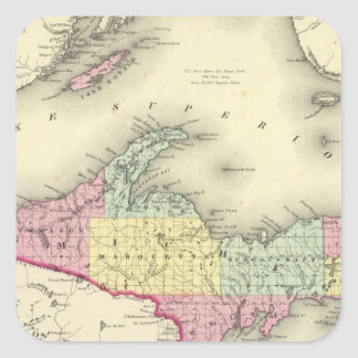 Lake Superior And The Northern Part Of Michigan Square Sticker