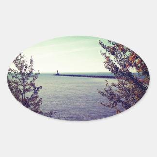 Lake Superior Break Wall Oval Sticker